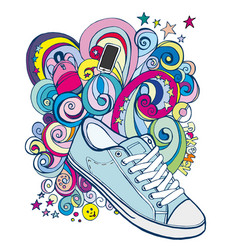 Doodle sneakers and colored waves vector