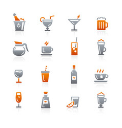 drinks icons - graphite series vector image