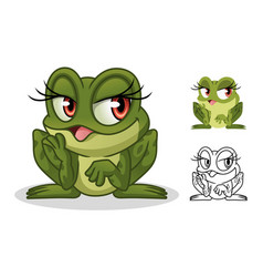 female frog cartoon character mascot design vector image