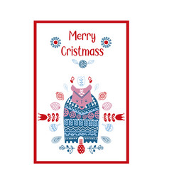 folk art ethnic style christmas card cute vector image