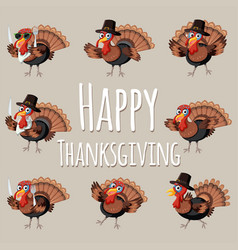 Fun happy thanksgiving turkey vector