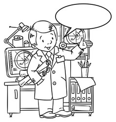 Funny engineer or inventor with balloon for text vector