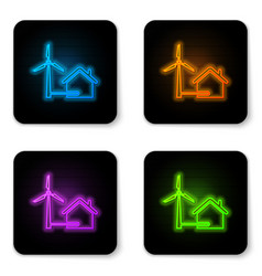 glowing neon house with wind turbine for electric vector image