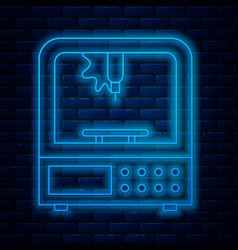 Glowing neon line 3d printer icon isolated on vector