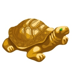 Golden turtle figurine with emerald eyes vector image