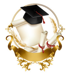 Graduation diploma or certificate realistic vector