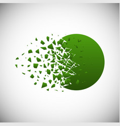 green gradient circle destruction shapes vector image