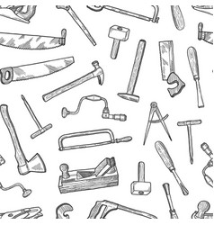 hand drawn carpentry elements pattern or vector image