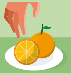Hand grabbing orange vector