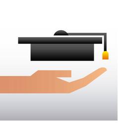 hand holding graduation hat education family vector image