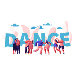 happy couple dance together typography banner vector image