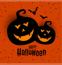 happy halloween festival card with two pumpkin vector image