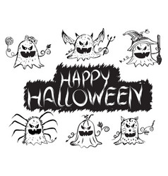Happy halloween pumpkin devil ghost art face vector
