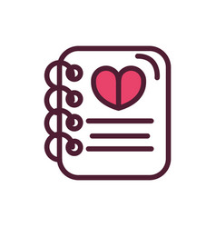 happy valentines day notepad heart love romantic vector image