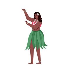 Hawaiian girl hula dancer in skirt tropical vector