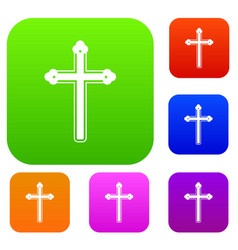 holy cross set color collection vector image