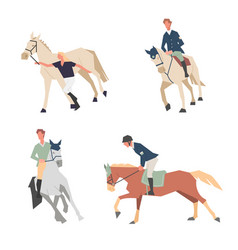 Horse riding lessons family equestrian sport vector