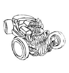 Hotrod monster silhouette vector image
