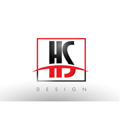 hs h s logo letters with red and black colors and vector image