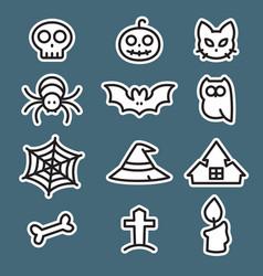 icon set halloween flat style vector image