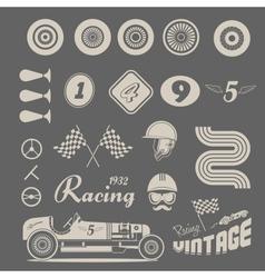 icons vintage car racing vector image