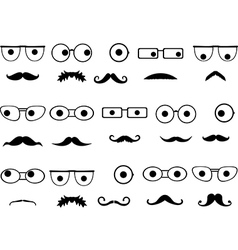 Invisible faces with glasses and mustaches vector image