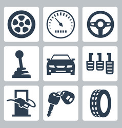 isolated auto icons set vector image