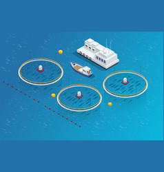 Isometric fish industry seafood concept vector