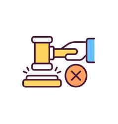 Judges hammer rgb color icon vector