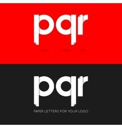 Letter P Q R logo paper set background vector