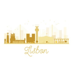 Lisbon City skyline golden silhouette vector image