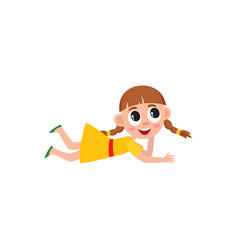 Little blond girl with pigtails lying on floor vector