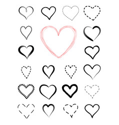 love heart drawn icon set valentines holiday vector image