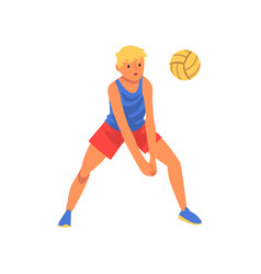 man playing with ball wearing sports uniform male vector image