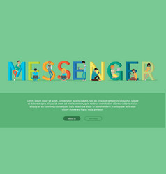 Messenger word with people writing messages vector