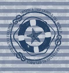 Nautical emblem with lifebuoy and starfish vector