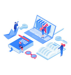 Online courses isometric concept vector