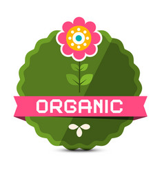 organic label with flower natural product sticker vector image