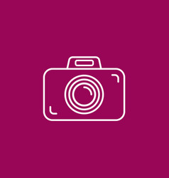 outline photo camera icon on crimson purplepink vector image