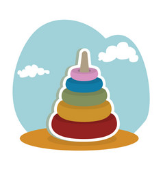 Pile blocks kids toy isolated icon vector