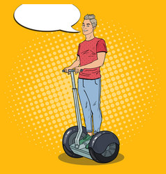 Pop art young man driving segway urban transport vector