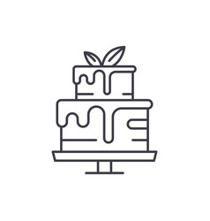 pudding line icon concept pudding linear vector image