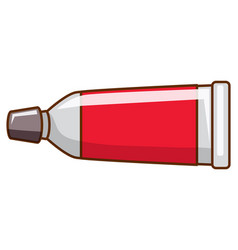Red watercolor in tube on white background vector