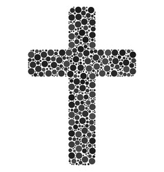 Religious cross collage of dots vector