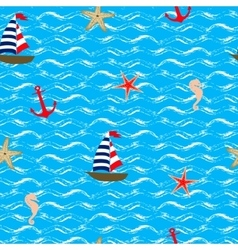 Seamless pattern Sea style vector image