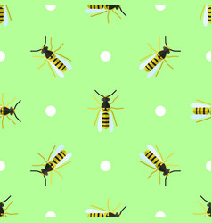seamless pattern with wasps and circles vector image