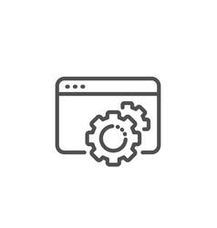 seo gear line icon web settings sign traffic vector image