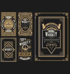 set 5 labels western style vector image