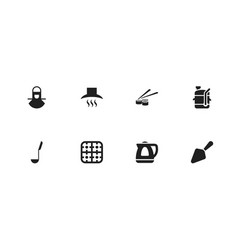 set of 8 editable cook icons includes symbols vector image