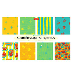 Set of 8 summer patterns vector